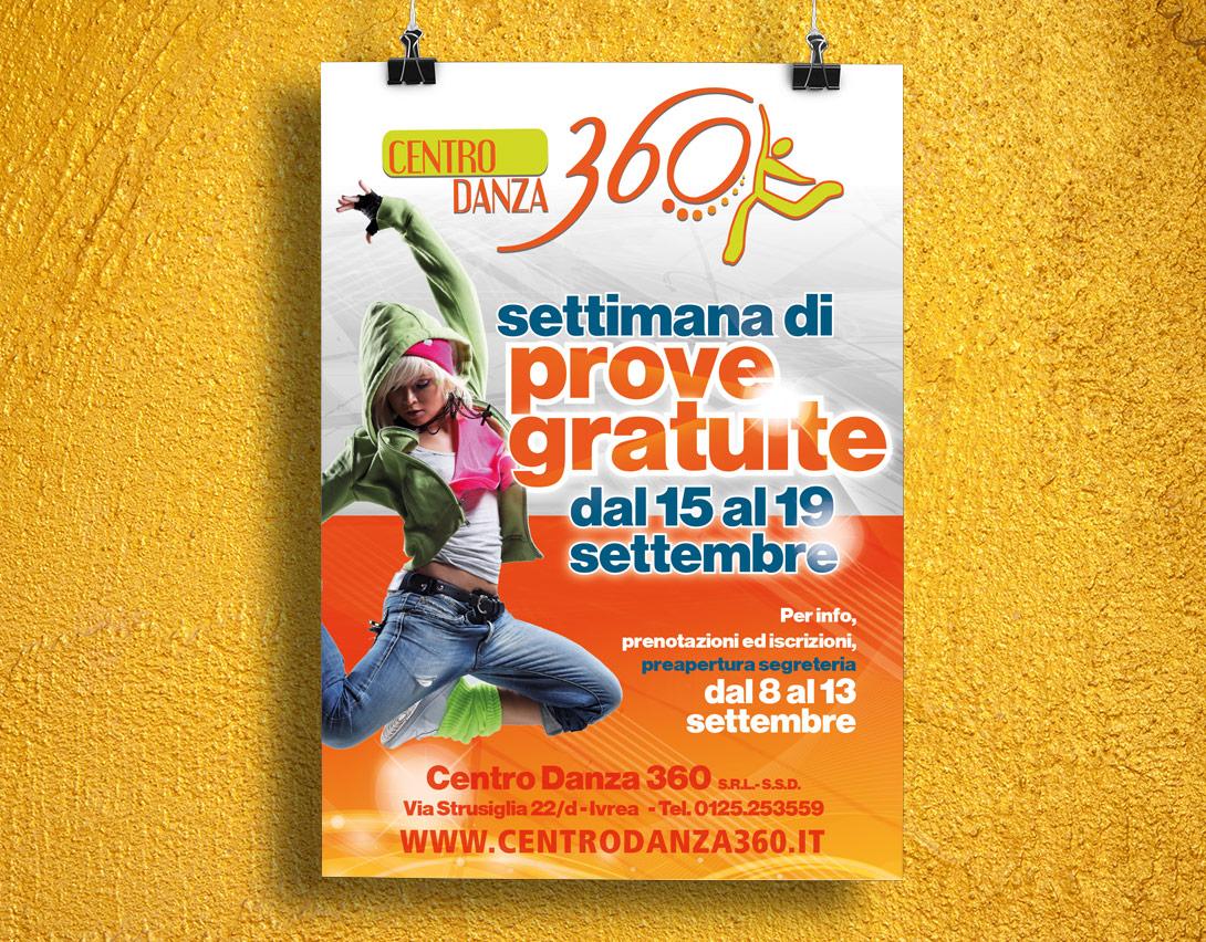 Studio grafico manifesto promozionale Centro Danza 360